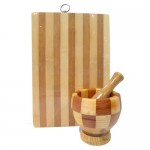 Σετ ξύλινο γουδί και ξύλινη βάση κοπής